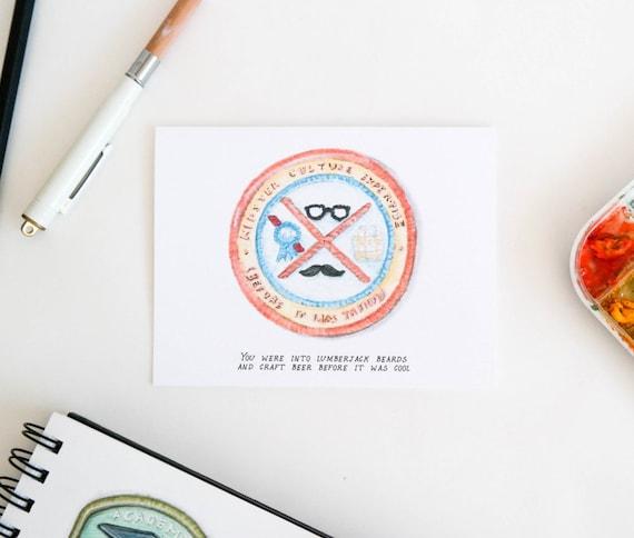 Hipster Culture Merit Badge Greeting Card