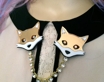 Mr. Fox Rhinestone Collar Clip, Laser Cut Acrylic, Plastic Jewelry
