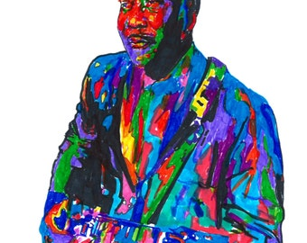 """Muddy Waters: POSTER from Original Drawing 18"""" x 24"""" Signed & Dated by Artist w/COA"""
