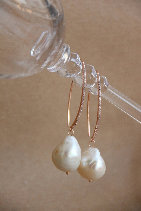 Earrings woman Silver Bath gold pearls Baroque zircon earrings