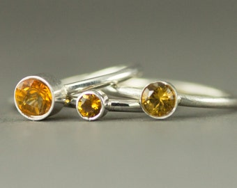 Citrine Stack Ring - Sterling November Birthstone Ring  - 6mm 5mm or 4mm