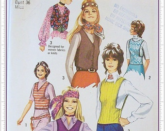 Simplicity 9300 Set of Tops and Vest Vintage 1970s Sewing Pattern Misses Size 14 Bust 36