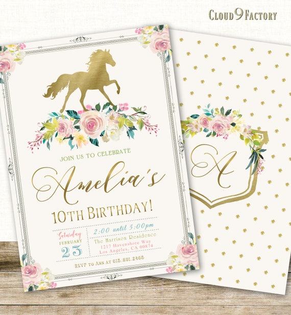 Horse birthday invitation horse invitation horse themed horse birthday invitation horse invitation horse themed birthday party invitations pony party invites gold pink floral printable filmwisefo Gallery