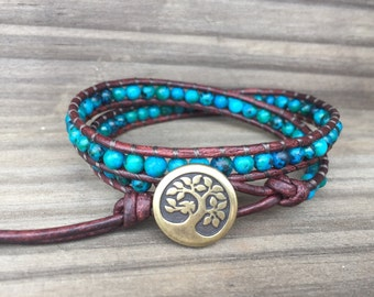 Tree of Life Double Wrap Bracelet, Earthy Bracelet, Bohemian Bracelet