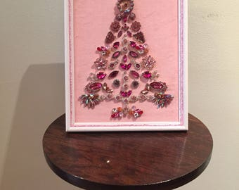 Pink Rhinestone Sparkling Jewelry Christmas Tree Picture Gift on Pink Velvet in White Frame