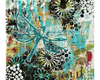 Dragonfly Mixed Media Collage Art Print, Nursery Print, Dragonfly canvas, Painting, Giclee, home decor, Trust it ALL-by Judie Parsons