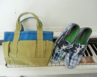 Vintage, Preppy, Plaid, Original Top Siders, Sperry, Canvas Shoes. Size 7 1/2Medium, Loafers