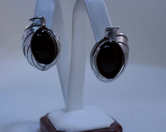 Southwestern, Native American Inspired Sterling and Onyx Earrings