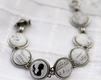 Music bracelet, Inspirational women gift, Music gift, Music jewelry, Black White Bracelet, Silhouette bracelet, Shabby chic wedding bracelet