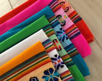 Mexican Napkins, Placemats, Assorted Colors, Fiesta Decor, Woven, Boho Chic Linens, Tribal Kitchen, Wedding Decor