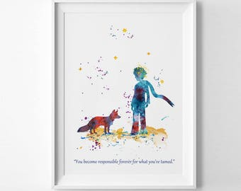 The Little Prince and Fox Prints Watercolor Art Le Petit Prince Quote Fox Ink Saint-Exupéry Nursery decor Print kids Gift Poster (Nº5)