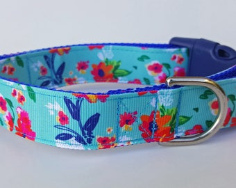 Turquoise Flowers Dog Collar / Summer Dog Collar / Floral Dog Collar