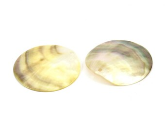 Mother Of Pearl, 2 MOP Cambered Disc Pendants With 1 Hole, Earring Findings (39mm) X012