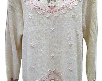 Embroidered Shenanigans Pullover Sweater / Vintage 1970's - Fits Size Large