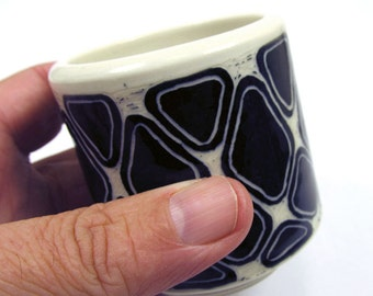 Hand-Carved Zentangled Stoneware Tea Cup