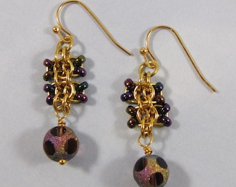Learn Chain Maille Back to Work Earring Kit - Gold & Purple Green Iris (Advanced Beginner)