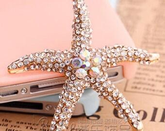 Flat Back Rhinestone Button Starfish Button (55 mm) BL-022