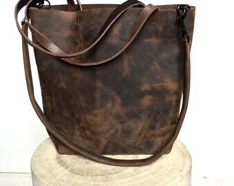 Dark Brown Leather Tote Bag - large brown leather bag - Leather Travel Bag - dark brown Leather Market bag - crossbody bag- Sale