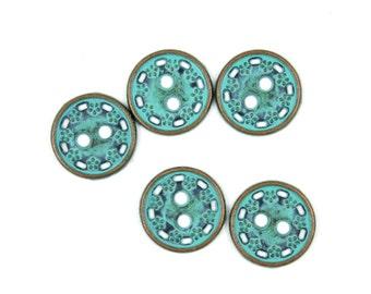 Metal Buttons - Floret Wreath Cyan Green Metal Hole Buttons - 11mm - 7/16 inch - 6 pcs
