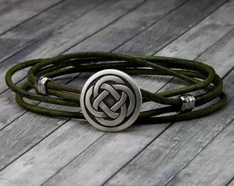 Celtic Knot Leather Bracelet  Leather Wrap Bracelet  Leather Bracelet  Mens Leather Bracelet  Womens Leather Bracelet  Celtic Knot Bracelet