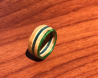 Skateboard ring-wooden ring- recycled skateboards