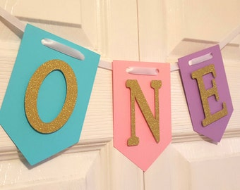 Gold Glitter High Chair Banner, One Banner, Happy Birthday Banner, I Am One Banner, I Am Two Banner