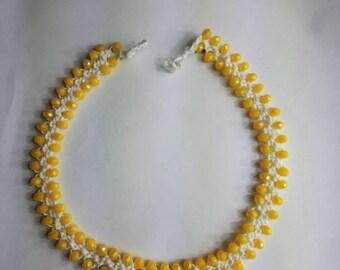 Yellow Crochet Necklace