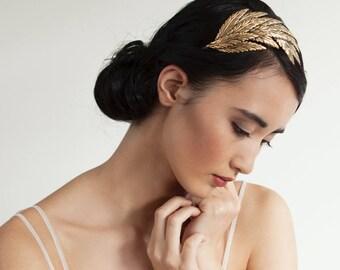Golden Wing headpiece - Gold Bridal tiara - Stylish Bridal Hair Accessory  -  Bohemian Wedding Headpiece - 1930s headpiece - Agnes Hart UK