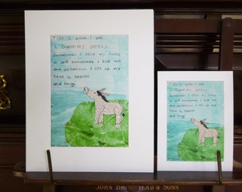Illustrated quote of a Guernsey Donkey from The Book of Ebenezer Le Page