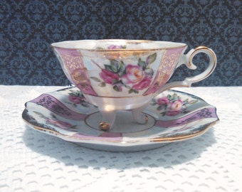 Vintage Lustreware Tea Cup and Saucer by Lipper and Mann Royal Halsey, 3 Footed Cup, Pink Roses with Gold Trim, Mid Century, Circa 1950s
