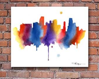 Miami Skyline Art Print - Abstract Watercolor Painting - Wall Decor