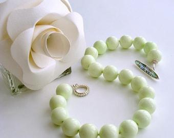Lemon Magnesite Choker Necklace Abalone Toggle - Honeydew Choker Necklace