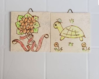 Wooden paintings, Pirografo, tiles, room decor, children's room furniture, baby gift, made in Italy, home décor