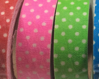 WASHI TAPE Polk a Dot White with Pink, Baby Blue and Green
