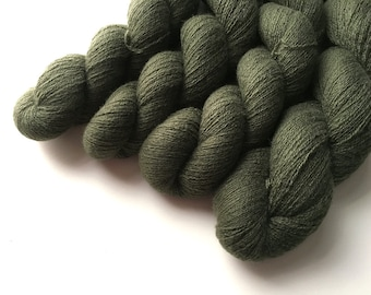 Reclaimed Lace Yarn - Cashmere - Dark Army Green