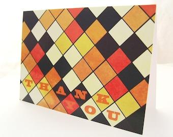 Retro Diamonds - Blank 4x5.5 Thank You Card, Single or Set of 4 - Purple Orange Gold Cream Argyle Geometric 1960s 1970s