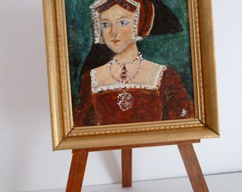 Jane Seymour 3rd wife of Henry VIII ,original miniature acrylic painting, one 12th scale