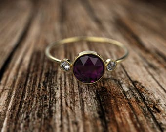 Yellow Gold Rose Cut Amethyst Engagement Ring Yellow Gold Amethyst Ring Amethyst Engagement Ring Amethyst Ring February Birthstone Ring
