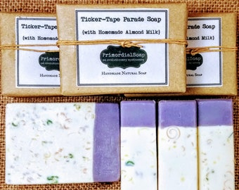 ALMOND MILK SOAP PrimordialSoap's Ticker-Tape Parade Soap {with Homemade Almond Milk} Handmade Natural Soap Luxury bar soap Lavender soap