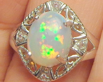 Solid 10k White Gold,Victorian Design Ring,Ethiopian Welo Opal Ring,Color Play Stone,Blue,Green,Yellow,Pink,Orange Fire,New Filigree Setting