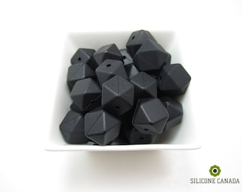 Hexagon - Smokey Black Loose Silicone Beads for Teething Necklace