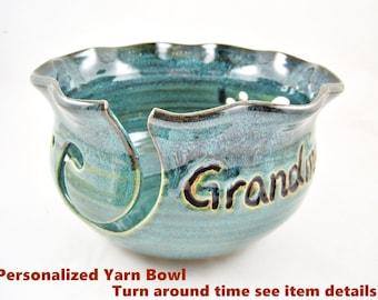 Personalized yarn bowl, customized knitting bowl, yarn holder, yarn keeper