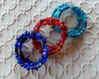 Blue, Green, or Red Beaded Three Wrap Memory Wire Bracelets