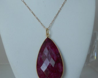 Raw Natural Ruby Pendant Necklace