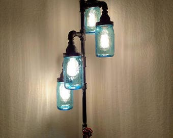 Pipe Floor Lamp 4-fixture INCLUDES DIMMER switch Living Room Steampunk Vintage Blue Mason Jar