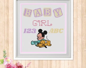 Baby Girl Counted Cross Stitch Pattern
