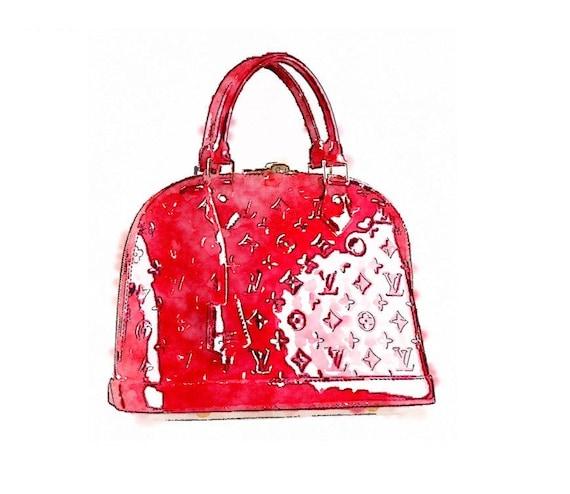 louis vuitton red bag digital art print from watercolor ebay purse diagram watercolor purse diagram #2