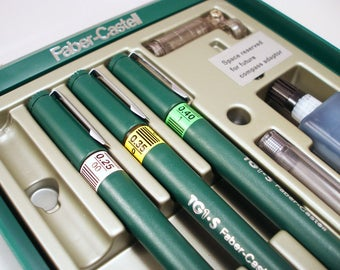 New Set of 3 FABER-CASTELL Technical Pens -- Pen and Ink Set -- Artistic Pens -- Illustration Pens - Pen and Ink