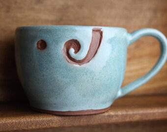 Turquoise Yarn Bowl Pottery Mug