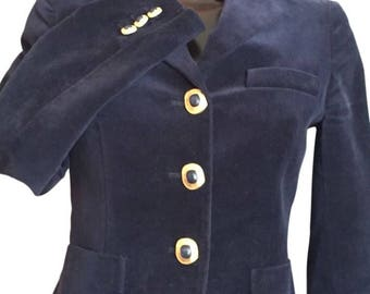 MAX MARA midnight blue velvet blazer size small